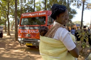 Mobile banking vehicle providing access to finance for rural people in Malawi. Credit, Gates Foundation.